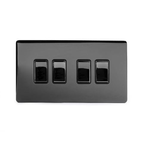 Screwless Black Nickel 10A 4 Gang 2 Way Light Switch