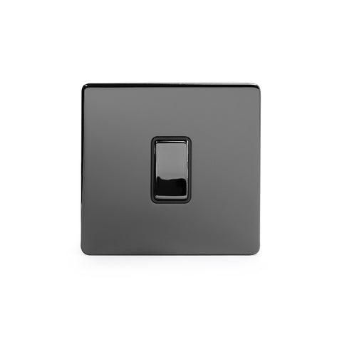 Screwless Black Nickel 1 Gang Intermediate Light Switch