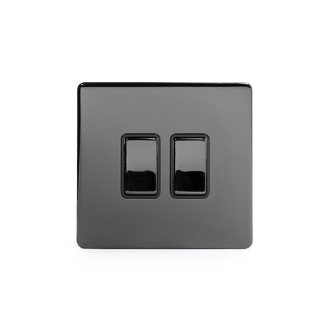 Screwless Black Nickel 10A 2 Gang Intermediate Light Switch