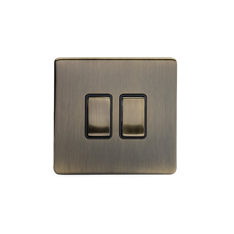 Screwless Antique Brass 10A 2 Gang 2 Way Light Switch