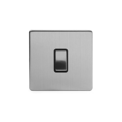 Screwless Brushed Chrome 10A 1 Gang 2 Way Light Switch