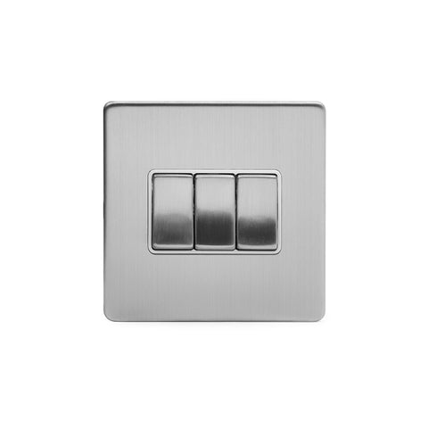 Screwless Brushed Chrome 3 Gang Intermediate Light Switch