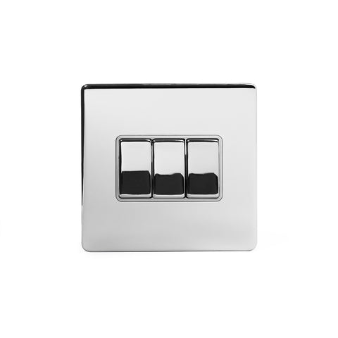 Screwless Polished Chrome 3 Gang Intermediate Light Switch