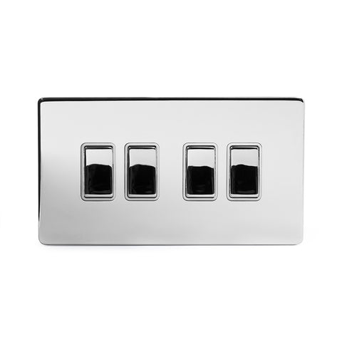 Screwless Polished Chrome 4 Gang Intermediate Light Switch