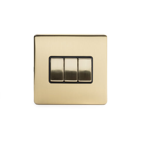 Screwless Brushed Brass 3 Gang Intermediate Light Switch