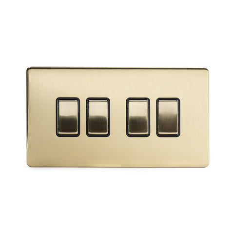 Screwless Brushed Brass 4 Gang Intermediate Light Switch - Black
