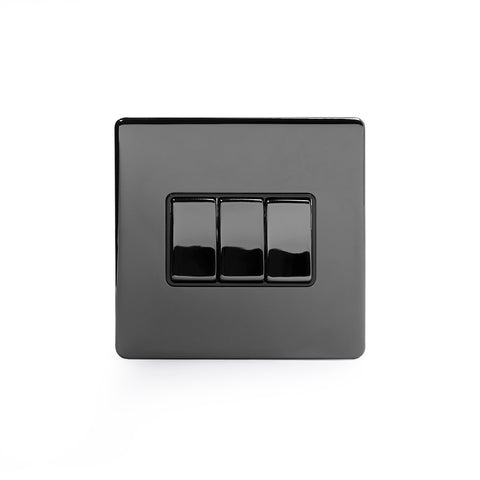 Screwless Black Nickel 3 Gang Intermediate Light Switch