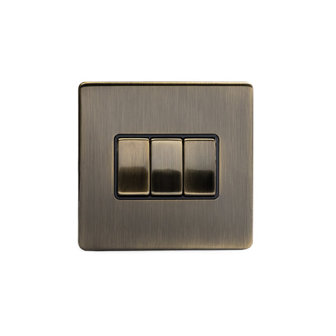 Screwless Antique Brass 3 Gang Intermediate Light Switch