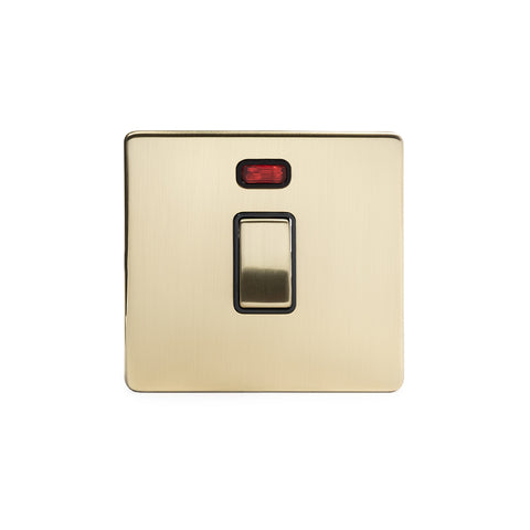 Screwless Brushed Brass 1 Gang 20 Amp Switch With Neon  - Black