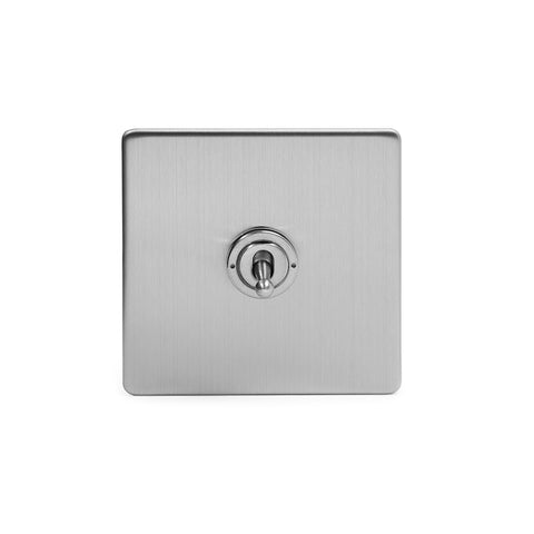 Screwless Brushed Chrome 1 Gang 2 Way Toggle Light Switch - White