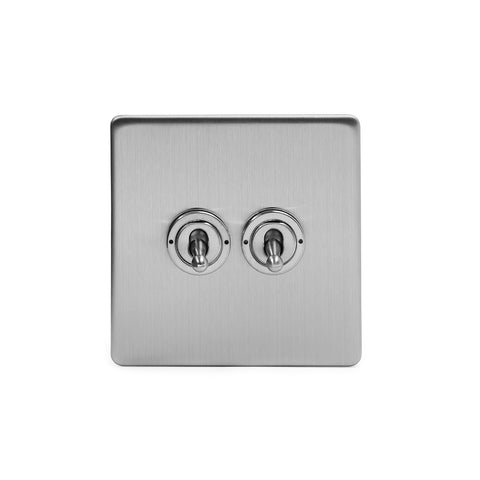 Screwless Brushed Chrome 2 Gang 2 Way Toggle Light Switch - White