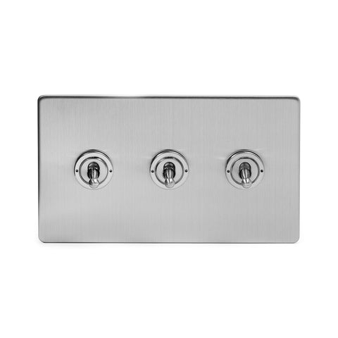 Screwless Brushed Chrome 3 Gang 2 Way Toggle Light Switch - White