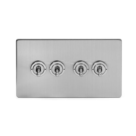 Screwless Brushed Chrome 4 Gang 2 Way Toggle Light Switch - Black