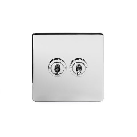 Screwless Polished Chrome 2 Gang 2 Way Toggle Light Switch - White