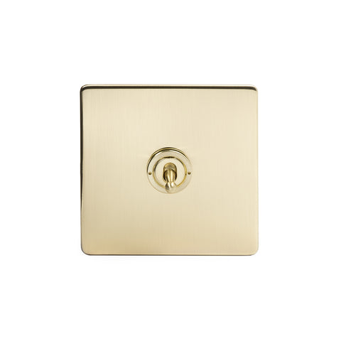 Screwless Brushed Brass 1 Gang 2 Way Toggle Light Switch - White