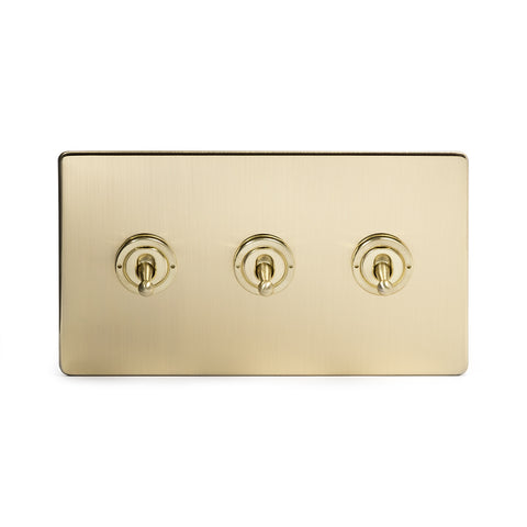 Screwless Brushed Brass 3 Gang 2 Way Toggle Light Switch - Black