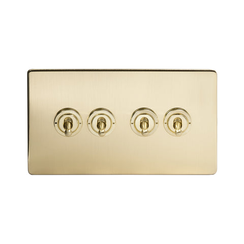 Screwless Brushed Brass 4 Gang 2 Way Toggle Light Switch - White