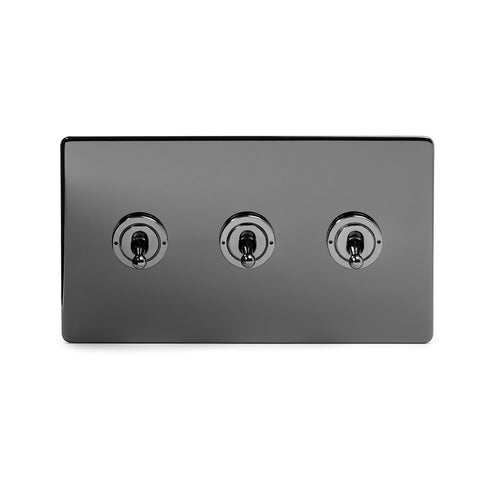 Screwless Black Nickel 3 Gang 2 Way Toggle Light Switch - Black