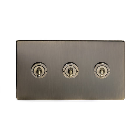 Screwless Antique Brass 3 Gang 2 Way Toggle Light Switch - Black