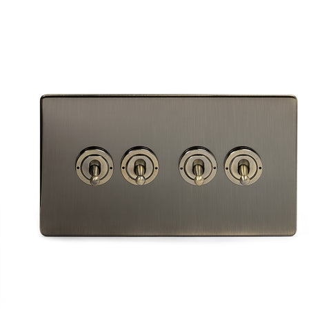 Screwless Antique Brass 4 Gang 2 Way Toggle Light Switch - Black