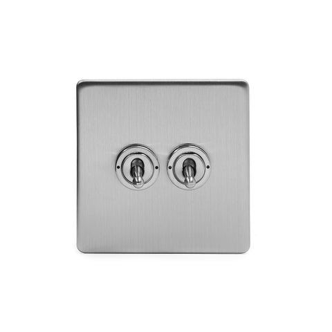 Screwless Brushed Chrome 2 Gang Intermediate Toggle Light Switch - White