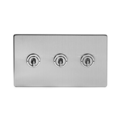 Screwless Brushed Chrome 3 Gang Intermediate Toggle Light Switch - Black