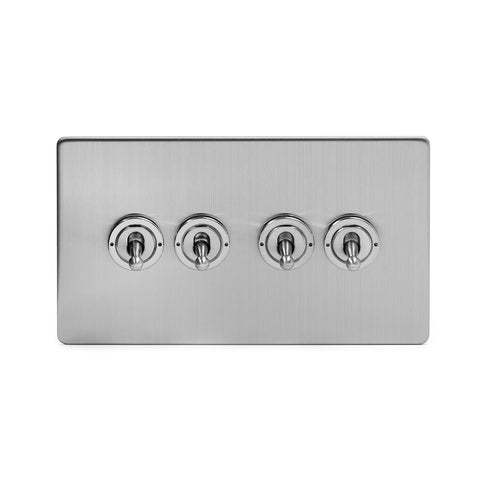 Screwless Brushed Chrome 4 Gang 20 Amp Intermediate Toggle Light Switch - White