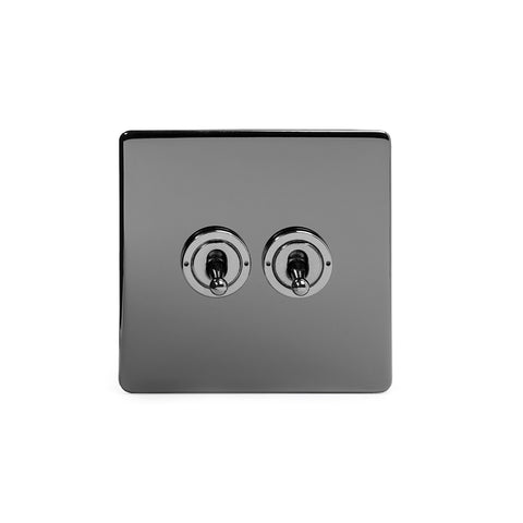 Screwless Black Nickel 2 Gang Intermediate Toggle Light Switch - Black