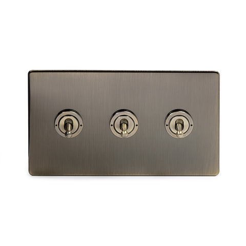 Screwless Antique Brass 3 Gang Intermediate Toggle Light Switch - Black