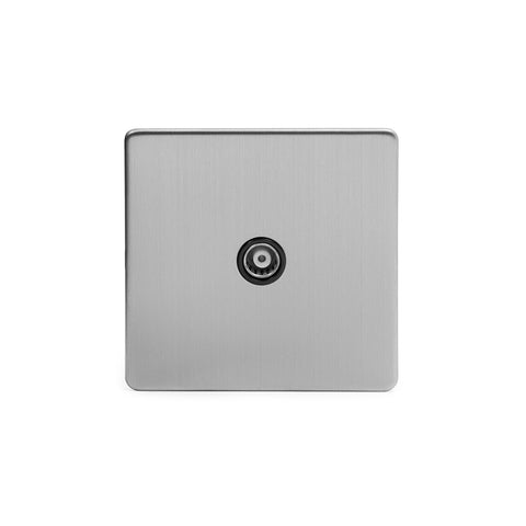Screwless Brushed Chrome 1 Gang Co Axial TV and Satelite Socket