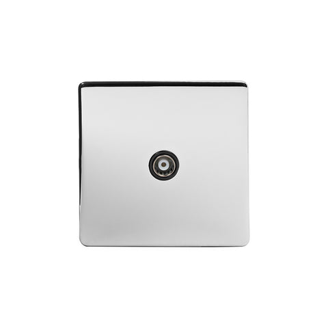 Screwless Polished Chrome 1 Gang Co Axial TV and Satelite Socket Light Switch