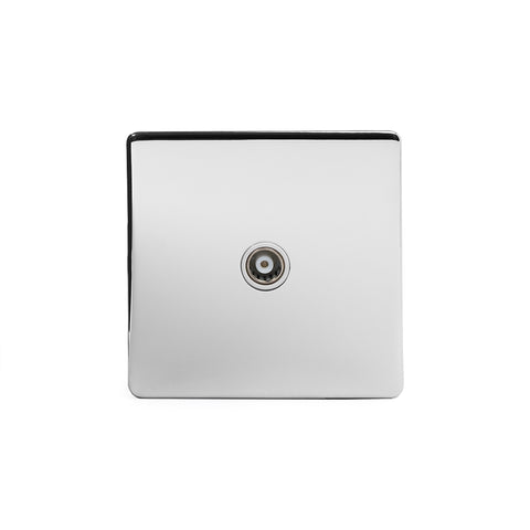 Screwless Polished Chrome 1 Gang Co Axial TV and Satelite Socket