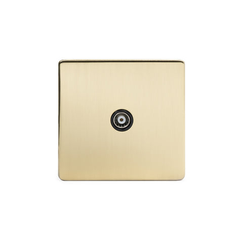 Screwless Brushed Brass 1 Gang Co Axial TV and Satelite Socket