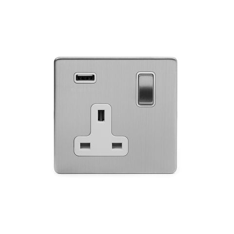 Screwless Brushed Chrome 1 Gang Single USB Plug Socket
