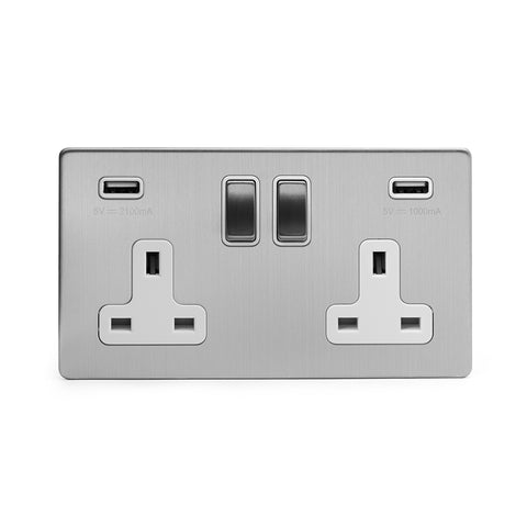 Screwless Brushed Chrome 2 Gang Double 3.1 Amp USB Plug Socket