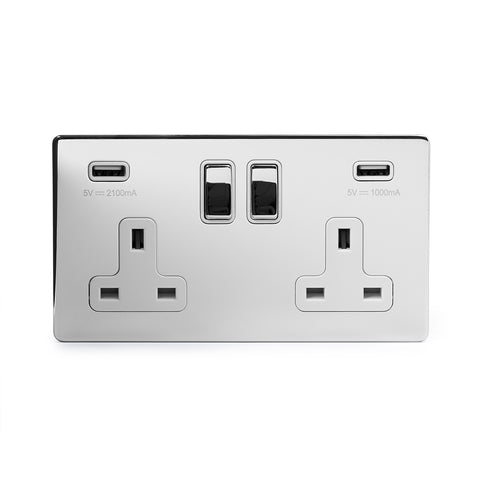 Screwless Polished Chrome 2 Gang Double 3.1 Amp USB Plug Socket