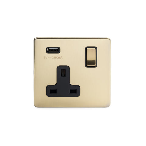 Screwless Brushed Brass 1 Gang USB Plug Socket