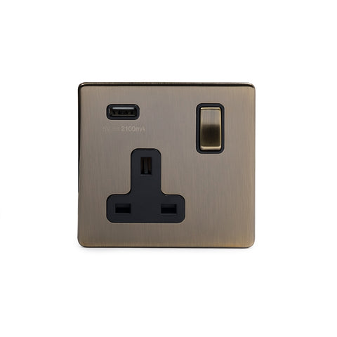 Screwless Antique Brass Single Pole 1 Gang USB Plug Socket