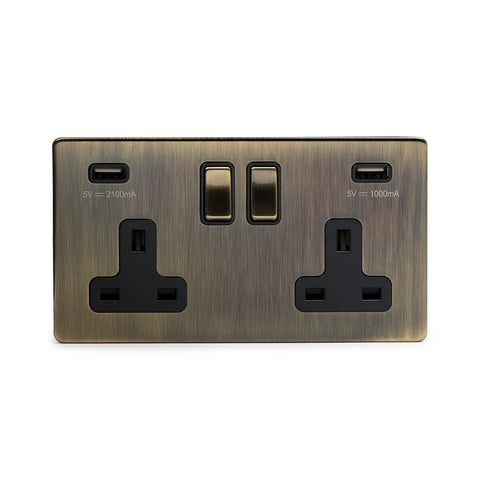 Screwless Antique Brass 2 Gang 3.1 Amp USB Plug Socket