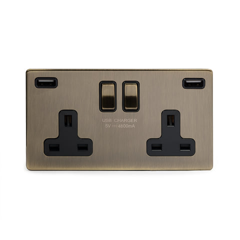 Screwless Antique Brass 13A 2 Gang DP Fast Charge 4.8amp USB Plug Socket