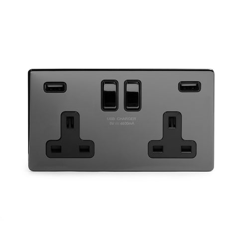Screwless Black Nickel 13A 2 Gang DP Fast Charge 4.8amp USB Plug Socket