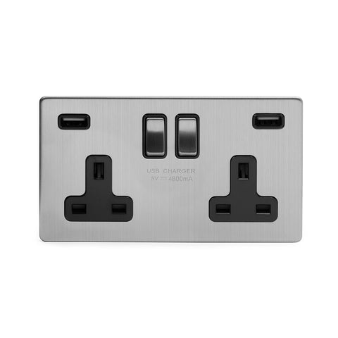 Screwless Brushed Chrome 13A 2 Gang DP Fast Charge 4.8amp USB Plug Socket
