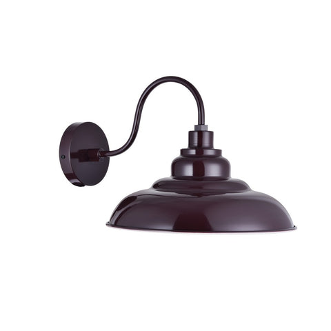 Portland Reclaimed Style Wall Light Mulberry Red Burgundy