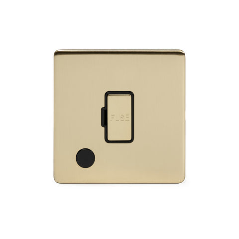 Screwless Brushed Brass 13A Unswitched Connection Unit Flex Outlet