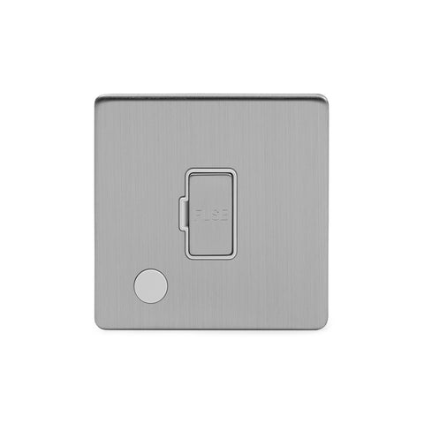 Screwless Brushed Chrome 13A Unswitched Connection Unit Flex Outlet