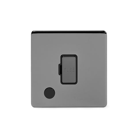 Screwless Black Nickel 13A Unswitched Connection Unit Flex Outlet