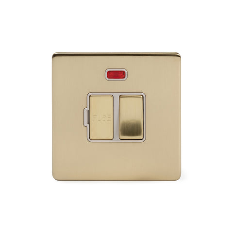 Screwless Brushed Brass 13A Switched Fuse Connection Unit With Neon