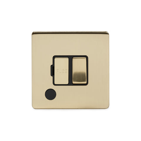 Screwless Brushed Brass 13A Switched Connection Unit Flex Outlet  - Black