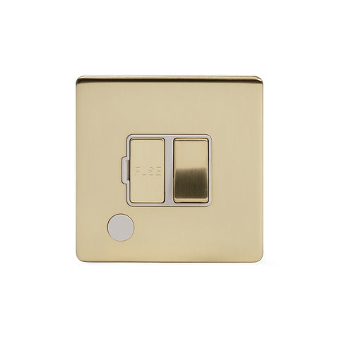 Screwless Brushed Brass 13A Switched Fuse Connection Unit Flex Outlet