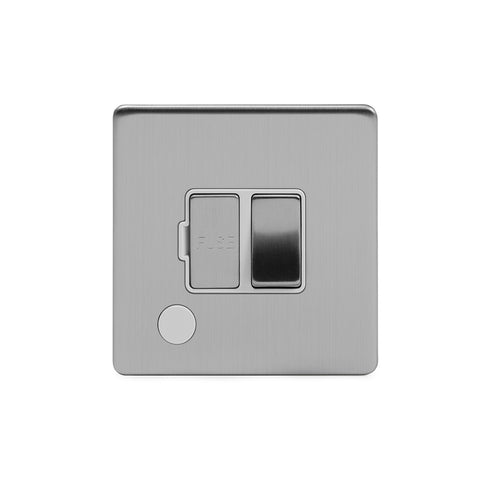 Screwless Brushed Chrome 13A Switched Fuse Connection Unit Flex Outlet